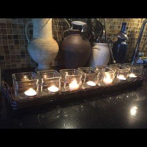 Romantic centerpiece w/7 tea lights glass decanter